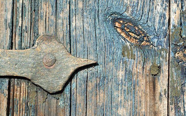 reclaimed wood with door hinge